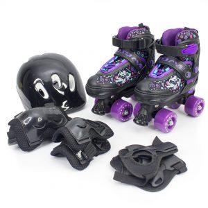 Patines cuatro ruedas con kit de protección